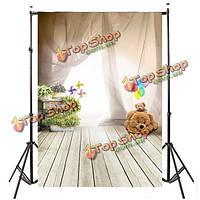 1x1.5m фон фотографии фон реквизита занавес вертушки цветы воздушные шары несут деревянный пол