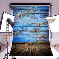 5x7ft 2.1x1.5см шелк синий деревянный пол фотографии фон фон фото студия реквизита, фото 1