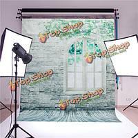 1.5x2m кирпичной стены Windows этаж студии шелковые фотографии фоне Фото фон студии реквизит