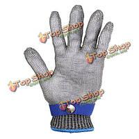 Металлическая сетка мясник перчатки 5-го класса безопасности порезов колото стойкой нержавеющей стали 23x9.5cm