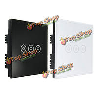 AC 250В закаленного стекла настенный выключатель панели-три переключателя единый орган управления