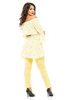 Женский батальный брючный костюм из евробенгалина и костюмки
