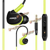 Спорт стерео бас 3.5 мм в ухо наушник работает водонепроницаемую sweatproof с микрофоном гарнитуры S500 fonge
