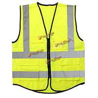 Желтый привет-Vis отражающей жилет безопасности куртки 5 карманов жилета безопасности