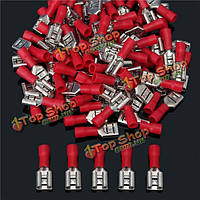 22-18awg изолирующих женский лопата терминальный электрический провод обжимной разъем красный, фото 1