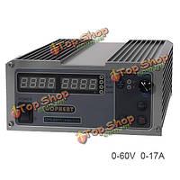 CPS-6017 0-60В 0-17а 220В 1000Вт высокой мощности цифровой регулируемый источник питания постоянного тока