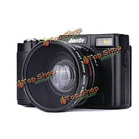 AMKOV CDR2 24MP 1080p 4-кратный цифровой зум камеры с 3-дюйма вращающийся TFT экран 52мм адаптер винт объектива