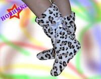 Женские леопардовые тапочки, высокие / женские тапочки леопард, осень - зима