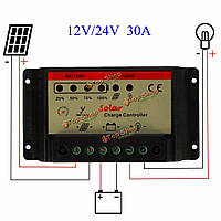 Широтно-импульсная модуляция солнечного зарядного устройства регулятор зарядки батареи контроллер 30A 12v / 24v