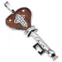 Кулон в виде ключа с деревянной вставкой и крестом из фианитов SSP-8848
