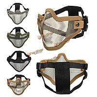 Tactical безопасности защищают охоты металлической проволоки половина маска для лица сетка страйкбольного маски пейнтбола