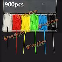 900шт 100x2мм самоблокирующиеся нейлона провода кабеля связи почтового индекса 6 цветов
