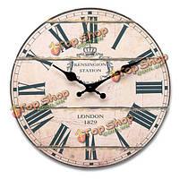 Стиле ретро круглый лес настенные часы движение кварца год сбора винограда декора
