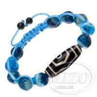 Голубой агат и 3-глазая бусина Dzi