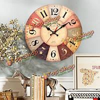 Искусства настенные часы круглые деревянные движения кварца старинных деревенском декора