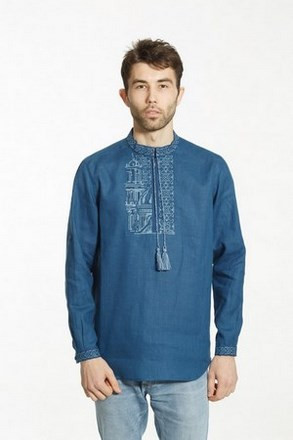 Рубашка-вышиванка мужская Petro Soroka  МТ-2091-05светло-синяя