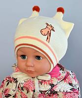 Детская шапка Арктик Жираф, вязка, молоко (р.46-50)