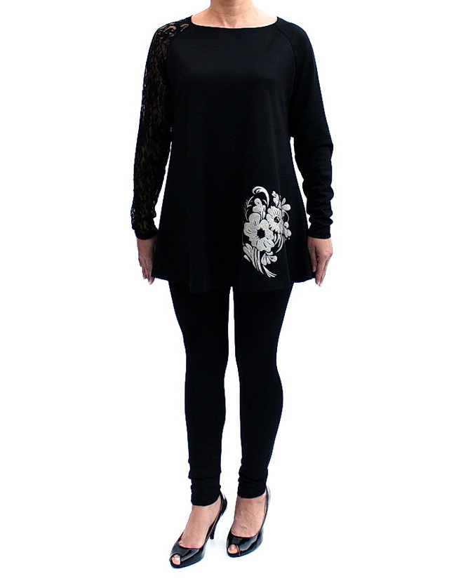 Туника-гипюр расклешенная с кружевными рукавами цвет черный фото teens.ua
