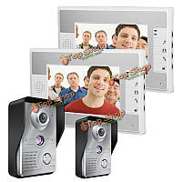 Enniosy 813mkw22 7-дюймов видео домофон дверной звонок домофон с ночного видения 2 камеры и 2-х мониторов