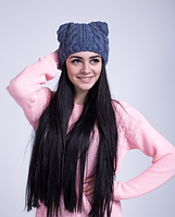 Теплая женская шапка с ушками  3032 (джинс)