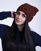 Красивая женская шапка с ушками  3032 (корица)