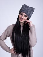 Недорогая вязаная женская шапка с ушками  3032 (серый)