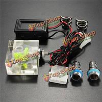 LED Термометр 3-х полосная расходомер для системы водяного охлаждения жидкости с 2 бородками