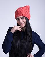 Женская шапка с ушками кошки 3032 (коралловый)