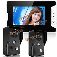Enniosy 813mk21 7-дюймов TFT ЖК-видео домофон дверной звонок домофон комплект 2 камеры 1 монитор ночного видения