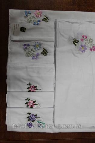 Платок носовой женский батист белый с вышивкой, фото 2