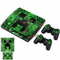 Зеленый узор кожи наклейка винила обложка для PS3 Playstation 3 тонкий + 2 контроллера