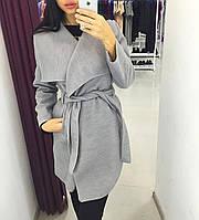 Пальто волан (полупальто), цвет меланж ( светло серый)