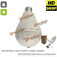 IP-камера LED лампочка скрытого наблюдения 360° рыбий глаз p2p 960P