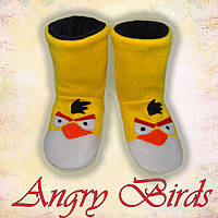 Детские домашние тапочки сапожки Angry Birds / идут также как взрослые, сапожки домашние высокие, теплые