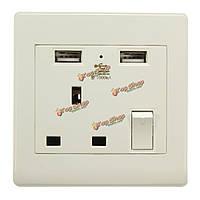 Электрический вилка Великобритании двойной USB панель электрическая розетка порт стены питания переменного тока заряда станция