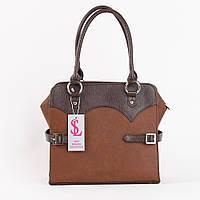 Коричневая квадратная сумка дамская лаковая №1357bg