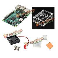 4в1  Raspberry Pi 3 модель B + v31 акрил кейс + Pi вентилятор + алюминиевый радиатор комплект