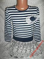 Платье-туничка на девочку в полоску 5-6л