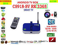 CS918-SV rk3368 Android tv 8 ядер 2гб DDR3 LAN USB AV-out пульт CAMERA+MIC+НАСТРОЙКИ I-SMART