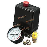 1/4-дюйма Реле давления фазы компрессора + безопасность воздуха значение 4 порта и манометр установлен