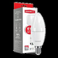 Светодиодная LED лампа MAXUS C37 6W E14 6Вт нейтральная