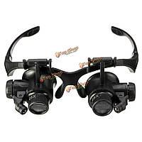 10X 15x 20x 25x очки очки LED лампа лупой лупой ювелирные изделия поддерживать с 8шт заменой
