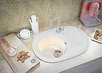 В кухню врезная мраморная мойка с одной чашей и крылом белого цвета овальной формы от MOKO VERONA - cristallo