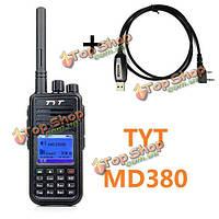 Tyt md380 цифровой двухстороннее радио Walkie Talkie DMR 1000 каналов с программированием DTMF кабеля