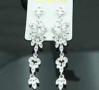 Белые свадебные серьги. Бижутерия под вечернее платье. 64
