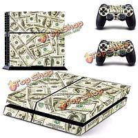 Доллар стикер кожи шаблон для PS4 PlayStation 4 Консоль 2 контроллер протектор кожи