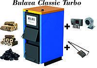 Твердотопливный котел BULAVA classiс turbo 12 кВт. С турбиной и автоматикой. Сталь 4 мм.