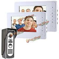 Эннио sy819m12 7-дюймовый видео домофон дверной звонок Интерком комплект с 1 камерой 2 мониторов ночного видения