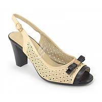 Босоножки на широком каблуке «Блонда» бежевые, Бежевый, 39