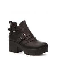Стильные женские черные ботинки на широком каблуке